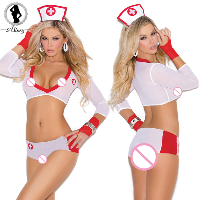 ALINRY Erotic Lingerie Sexy Women Perspective Cosplay Underwear White Nurse Uniform Temptation Costumes Sexy Babydoll Lingerie