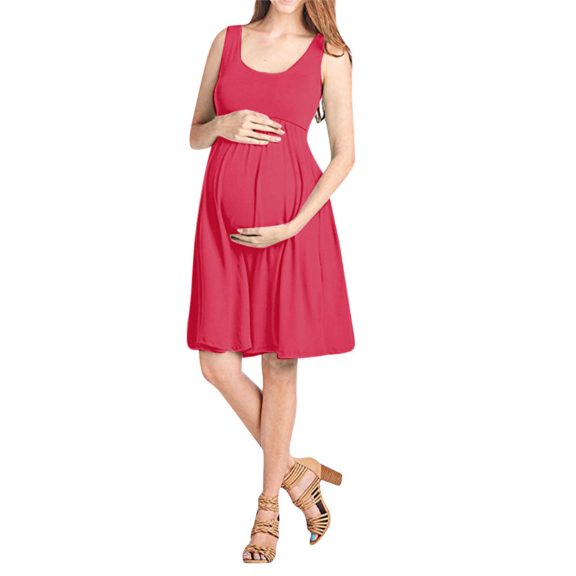 Maternity Clothes Maternity Dresses Summer Fashion Pregnancy Dress Nursing Maternity Solid Sleeveless Vest Causal Dress JE12#F (2)