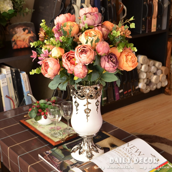 Anemones bouquet promotion shop for promotional anemones bouquet on classical european oil painting peony silk flowers export peonies buds artificial japanese anemones bouquets for decoration mightylinksfo