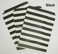 50 Pcs/2 Pack Black Horizontal Stripes Treat Craft Bags Favor Food Paper Bags Party Wedding Birthday Decoration Color 4