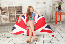 UK flag pattern for lazy bag and Adult bean bags for Bean bag chair D69x53 inch COVER only supply without filler(China)