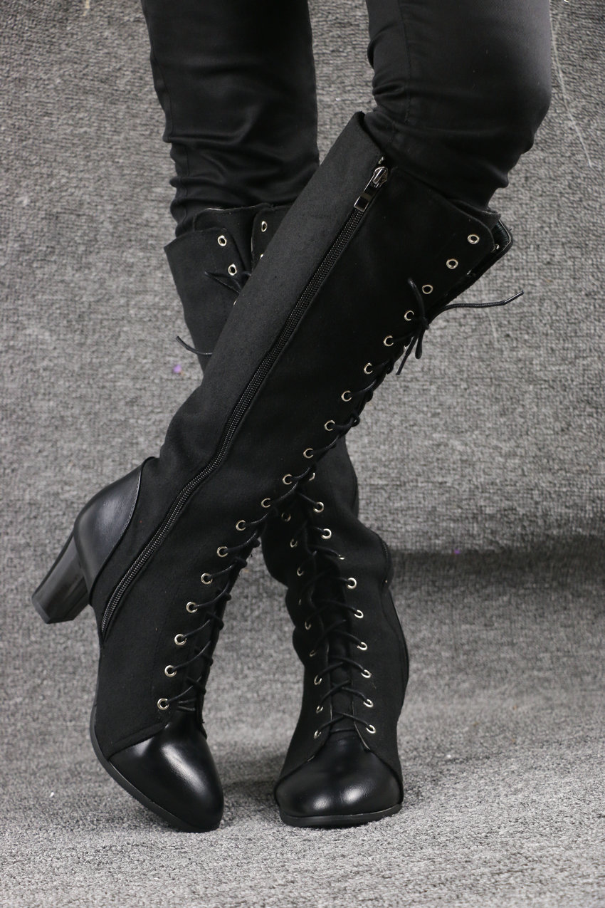 2018 Fashion Lace Up, Women's Knee High Boots, Round Toe Pu Leather, Square Heel Ladies Boots 24