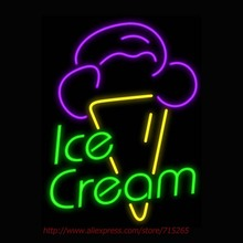Ice Cream Neon Sign Neon Bulbs Led Signs Real Glass Tube Handcrafted Room Restaurant Hotel Decorative Store Display Impact 24x18