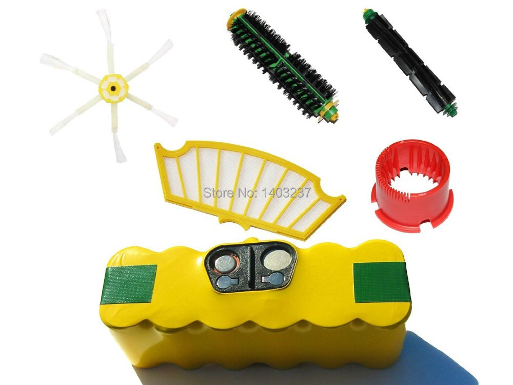 For iRobot Roomba 500 Series Battery Filter Bristle Brush Flexible Beater Brush 6-Arm Side Brush and Brush Cleaning Tool<br><br>Aliexpress