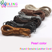 Leather Cords 2mm 5M Craft Round pearl Genuine pearls Cord/rope/Wire/string corda DIY Bracelet choker necklace Jewelry making