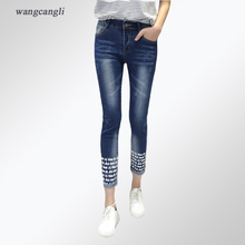 jeans women rivet elasticity cowby Trousers Decorative Letter Text fashion thigh Tightly thin Moustache Effect Pattern 3XL 5XL