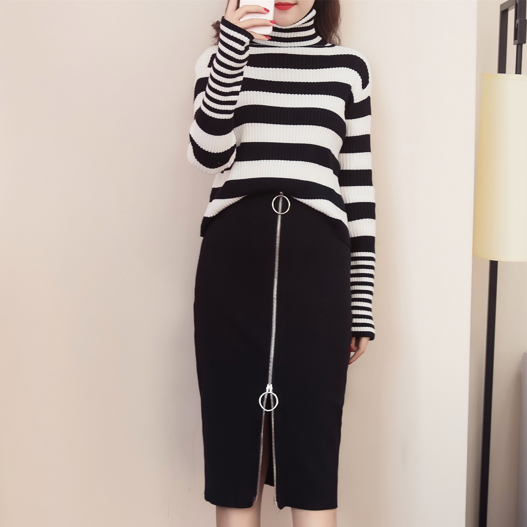 women knitted suits two pcs clothing set slip autumn winter pullover stripe sweater knitting black zip skirt suit casual outfit