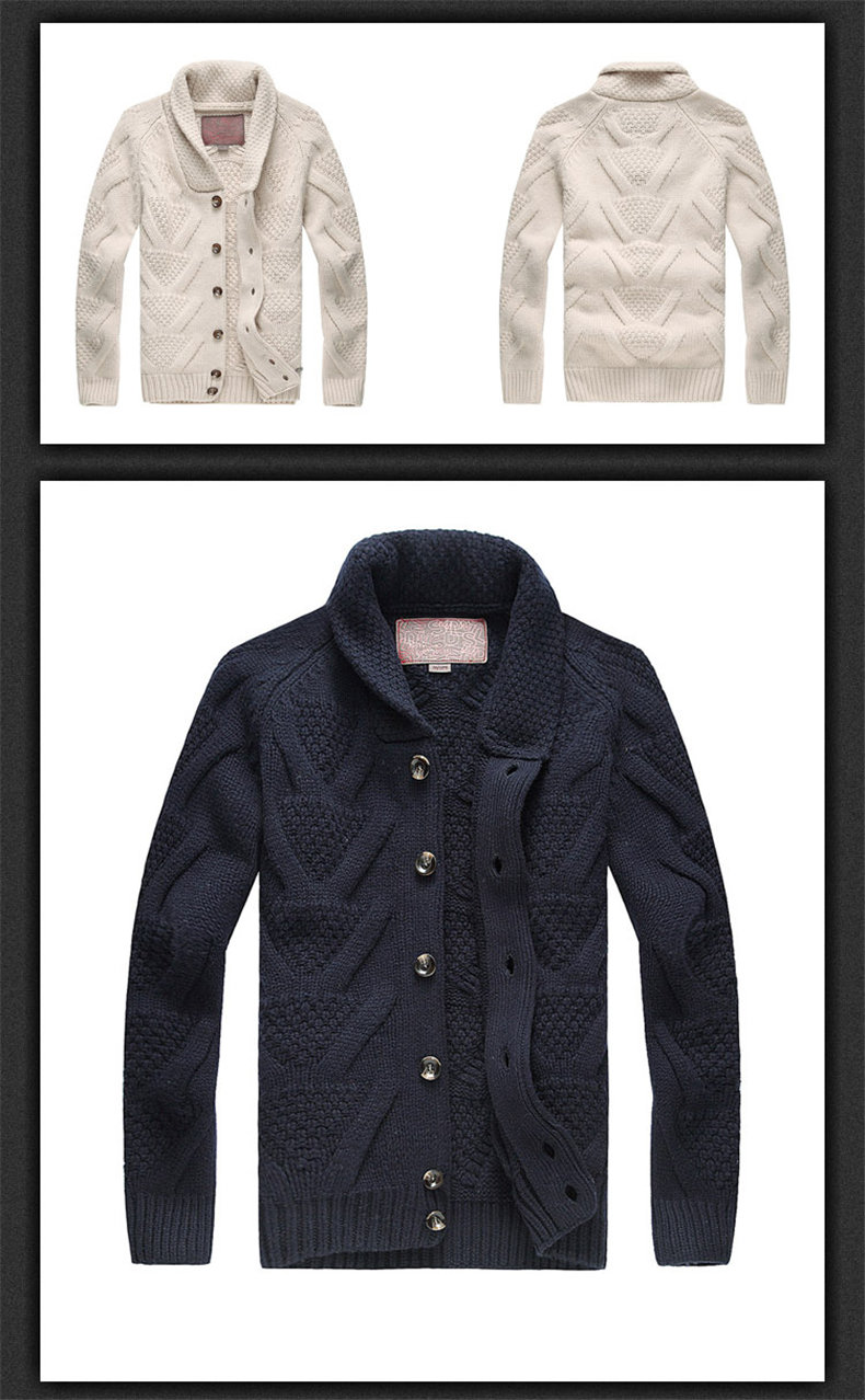 Muls Luxury Collection Men Cardigans 80% Wool 20% Acrylic Winter Thick Cardigan Sweater Jacket Men Navy Khaki Turn-down Collar-01