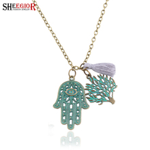 SHEEGIOR Vintage Long Necklaces & Pendants Love Hand Tree Wings Violin Leaf Watches Channel Necklace Women Fashion Jewelry Gifts(China)