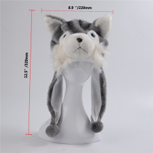 Husky Wolf Dog Cotton Cartoon Plush Toys Hats Animal Plush Hat Caps Christmas Present(China)