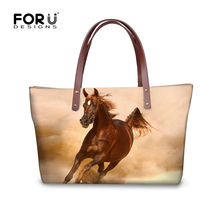 FORUDESIGNS Women Fashion Bag Horse Printing Tote Brands Female Handbag Large Shopping Purse for Girls Casual Shoulder Bags New