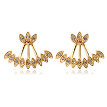 Double Sided Ear Jacket Gold Color Peacock Feather Set CZ Back And Front Swing Stud Earrings For Women Girls Jewelry Aros Aretes(China)