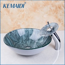 KEMAIDI New Arrival Bathroom Glass Basin Sink Faucet Bathroom Vessel Mixer With Drainer Glass Basin Sink Set &Drain(China)