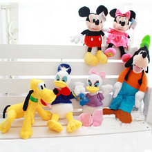 30cm Plush Toys Soft Stuffed Animals Doll Mickey Minnie Donald Duck and Daisy Duck Goofy Dog Pluto Dog
