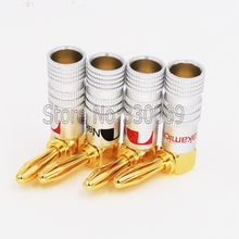 100pcs High Quality 24K Gold Plated  90 Degree Angel 4mm Nakamichi Banana Plug  Hifi  Adapter Audio Connectors