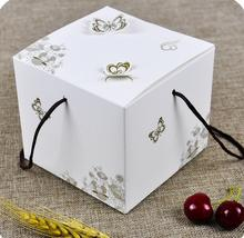 11.5*11.5*10cm Beautiful White kraft paper small cake box,baking cookies packaging box,white candy gift box with handles