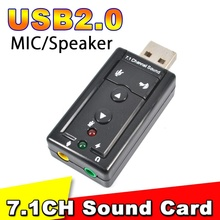USB Audio sound card Adapter Virtual 7.1ch USB2.0 3D Virtual 12Mbps Mic Speaker Audio Headset Microphone 3.5mm Jack Converter