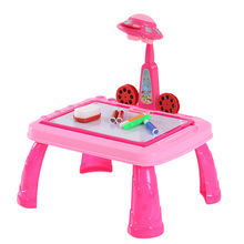 2 Colors Drawing Toys Practice Study Drawing Table KidsToys Learning Desk with UFO Appearance Projector Pattern for Children