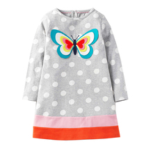 Jumping Meters Baby Girl Dresses Long Sleeve Tunic Children Clothes 2017 Brand 100% Cotton Princess Party Dresses Kids Clothing(China)