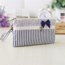Cotton striped bow women long money organizer wallets ladies coin purses phone pouches bags carteiras bolsas femininas for girls