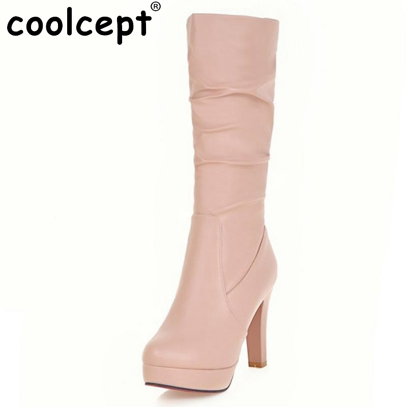 Women Platform Mid Calf Boots Woman High Heel Bootines Mujer Elegant Ladies Autumn Spring Heeled Footwear Shoes Size 34-43<br>