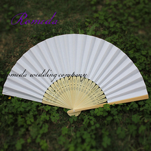 Free Shipping Hot selling 50 pcs/lot White Folding Elegant Paper Hand Fan Wedding&Party Favors 21cm(China)
