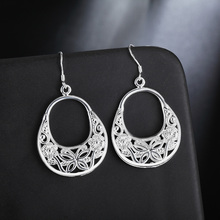 factory price wholesale Beautiful Girl Lady wedding Silver retro flower earrings high quality fashion classic jewelry(China)