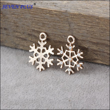 20 Pieces/Lot 21mm*16mm Gold Color Crystal Snowflake Charms