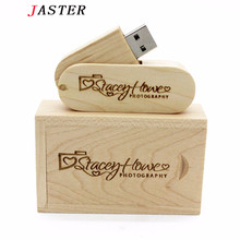 JASTER (over 10 PCS free LOGO) rotatable Wooden usb+box USB Flash Drive pendrive 8GB 16G 32GB U disk photography wedding gift