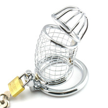 Buy Male chastity device breathable penis cage stainless steel cock cage penis bondage bird cage adult product erotic chastity lock.