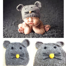Happy Mouse Design Handmade Crochet Baby Hat Caps for Newborn Photography Props Latest Christmas Gift XDT-239(China)