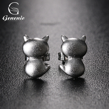 1 Pair New Fashion Women Lady Cute Jewelry Cat Earrings Silver Plated Smooth Scrub Ear Stud Nice Gift For Lover