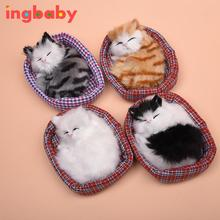 Simulated Mini-nest Cat Simulation Animal Ornaments Children's Toy can Called Cat Nest Baby Cartoon Toys Plush Cat WJ823 ingbaby