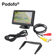 "Podofo Universal 4.3"" TFT LCD Display Car Rear View Monitor Parking Rearview System for Backup Reverse Camera DVD VCD Auto TV(China)"