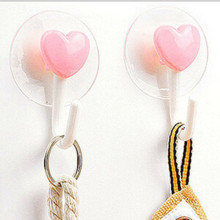 Fashion  2016  2Pcs loving heart  Wall Hooks Hanger Kitchen Bathroom Suction Cup Suckers