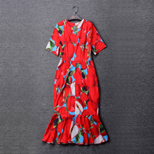 New Summer Women Elegant Sweet Mermaid Dress Short Sleeve Cute Fruit Printed Runway Slim Trumpet Dresses Plus Size XXXL Vestidos
