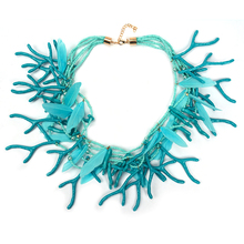 Fashion Women 2016 Necklaces Pendants Collier Femme Beads Bib Collar Choker Maxi Coral Feather Bohemain Boho Ethnic Accesory