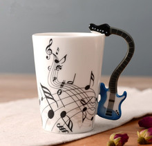 6 Colors Guitar Bass Music Cup Ceramic Handgrip Coffee Mugs Music Lovers Milk Tea Water Cups Bottle Novelty Gifts(China)