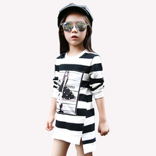 Tribros 2017 Spring Summer Girls Children Stripe Printed Asymmetrcal Clothes Infant Kid Costume Princess Baby Next Party Dresses