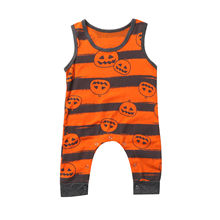 2017 New Baby Boy Girl Pumpkin Print Romper Sleeveless Casual Cotton Jumpsuit Sunsuit Infant Kids Clothes 0-24M