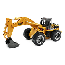 HUINA 1530 1:18 6CH RC Alloy Rooter Truck RTR With Movable Lifting Arm Mechanical Sound LED Light RC Bulldozer Excavator Toys(China)