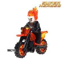 Building Blocks Ghost Rider With Motorcycle Super Heroes Star Wars Model Action Bricks Dolls Kids DIY Toys Hobbie WM298 Figures(China)