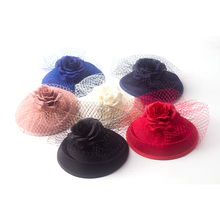 2017 Black Beige Red Blue Flower Sinamay Hairpin For Women Vintage Veil Hair Fascinator Ladies Millinery Party Hair Accessories