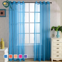 2016 New Solid Color Modern Window Sheer Curtain for Kitchen Living Room Bedroom Finished Blinds Tulle for Windows Fabric