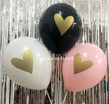 12pcs/lot Heart balloons black white pink balloons with golden glitter heart printing for Birthday hen party Wedding Balloons(China)