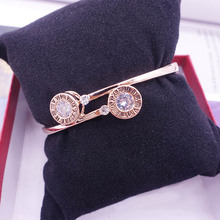 New Fashion Simple Round Cubic Zirconia Bangles For women Rose Gold Color Party Bracelets & Bangles Jewelry festival Gift(China)