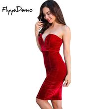 Buy 2018 Autumn Woman Sexual Velvet Dress V Neck Strapless Sleeveless Backless Party Knee Length Club Dress Woman Back Costumes