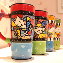 500ml Bone China Mug And Cup Women Men Kids Lovely Hand Drawing Colorful Ceramic Cups Dog And Cat Pattern Mugs-028