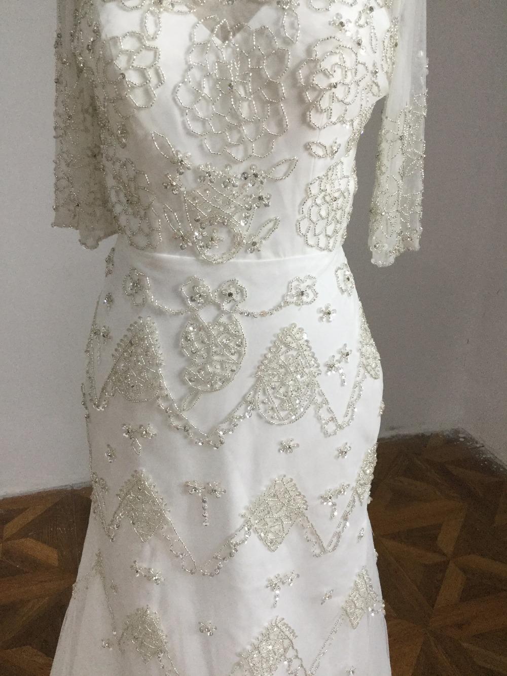 pattern V neck short sleeves wedding dress