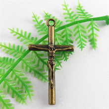 Graceangie 10pcs/lot Antique Brass Plated Jesus Mini Crosses Charms For Crafts Antique Bronze Bulk Jewelry Making Pendants(China)